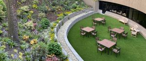 Scenic hardscape block wall courtyard for commercial building
