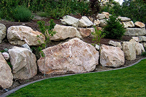 Large boulders outcropping in beautiful landscaped garden