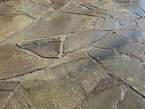 Closeup of flagstone paver patio