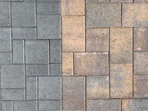 Closeup of Holland pavers with mixed summit blend and gray colors