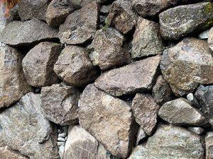 Closeup of 8-foot tall rockery wall