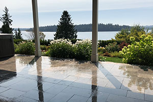 Natural stone patio overlooking Lake Washington