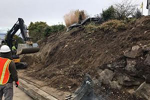 Rockery retaining wall landslide repair