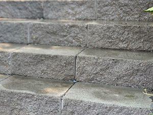 Concrete block wall steps