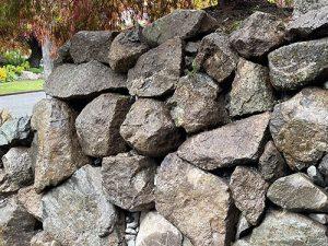 Variable height rockery wall in Seattle neighborhood
